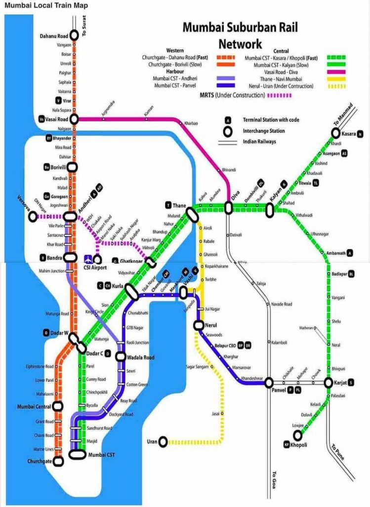 Mumbai Local Train Route Map