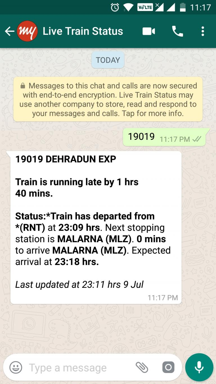 Train Live Running Status on Mobile