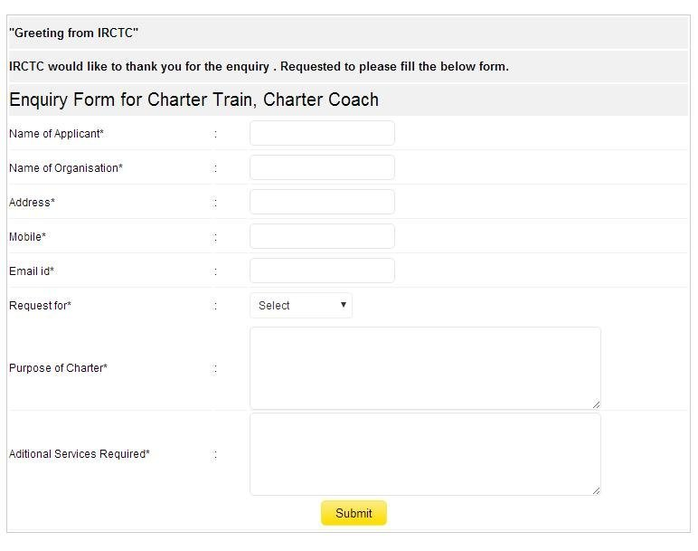 Enquiry form for Charter train / Charter Coach