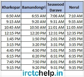 Kharkopar to Nerul Mumbai Local Train Time Table