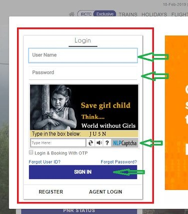 IRCTC Login Pop up page with User Name ,Password and Captcha