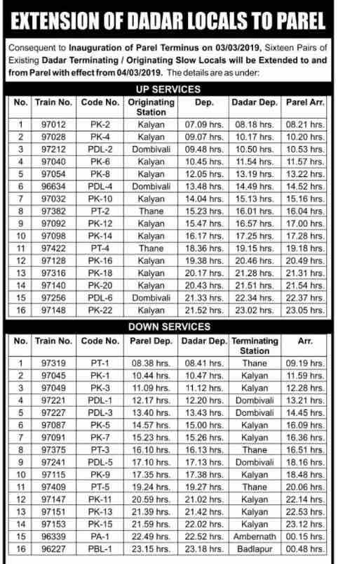 Dadar - Parel Mumbai Local Train Time Table