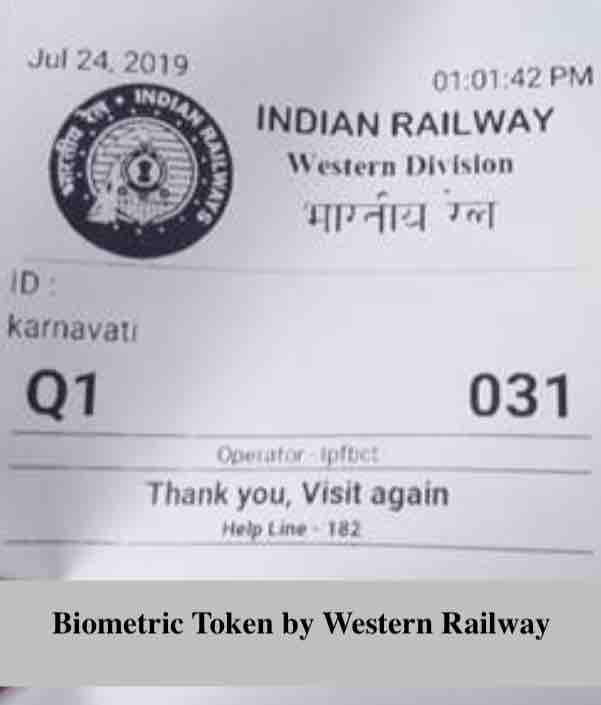 Biometric Token by Western Railway