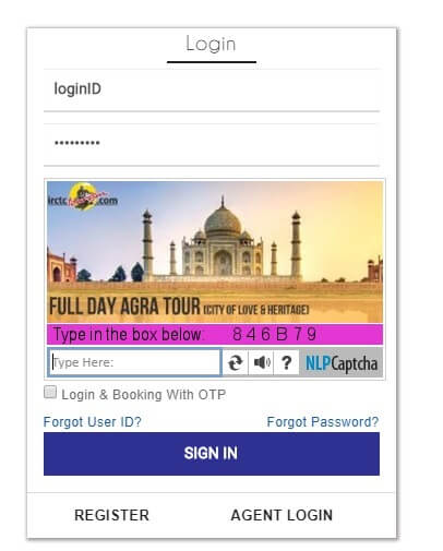 IRCTC next generation login new page