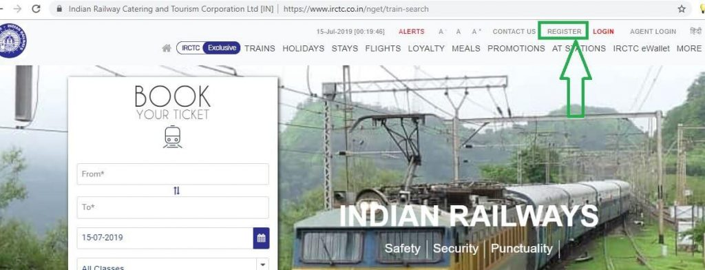 IRCTC  New Website Register Option