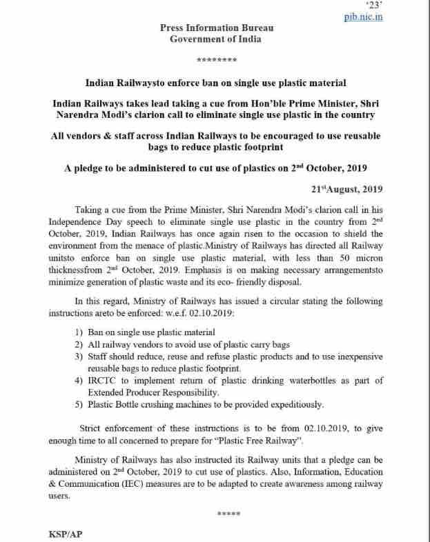 Ban Use of Plastic : Railway Circular