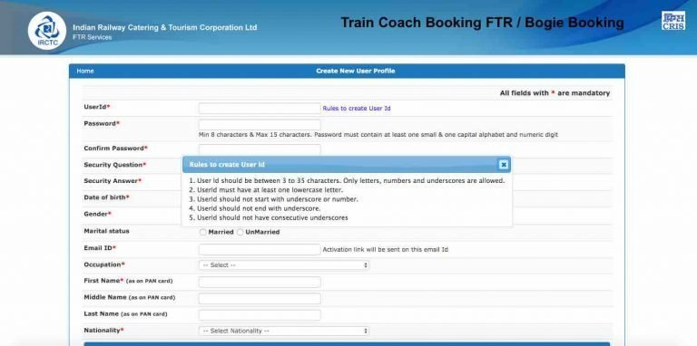 Train Coach Booking FTR