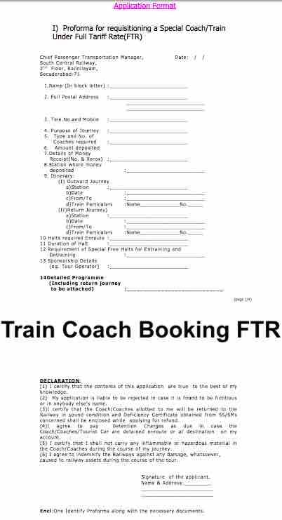 FTR Booking Application Format