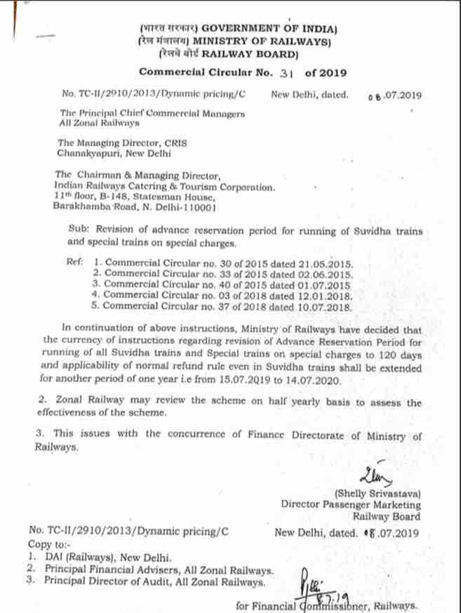 Advance Reservation Period for running of Suvidha Trains