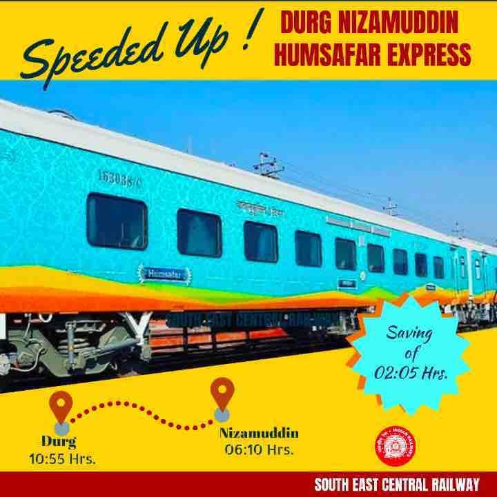 Durg- Nizamuddin Humsafar Express Trains