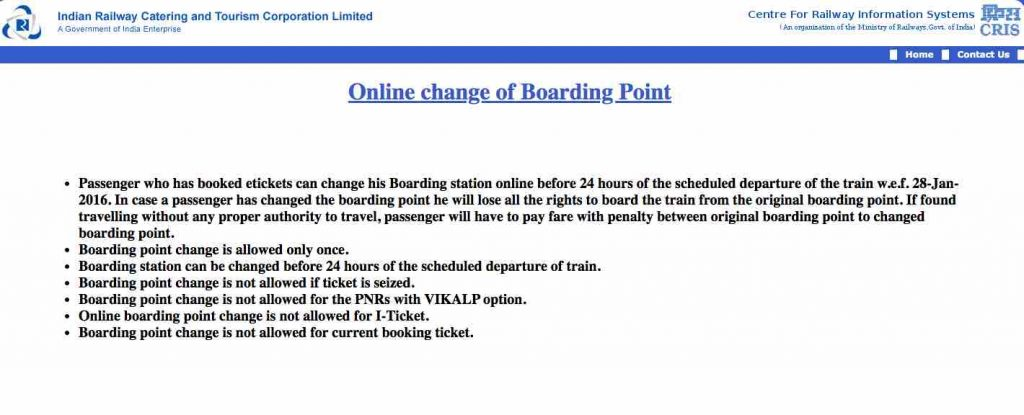 Online Change of Boarding Point in Train Tickets