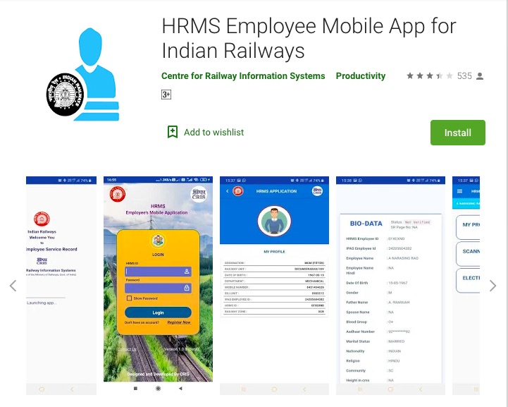 HRMS Employee Mobile App for Railway Employees