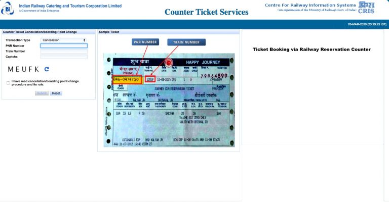 Ticket Booking via Railway Reservation Counter
