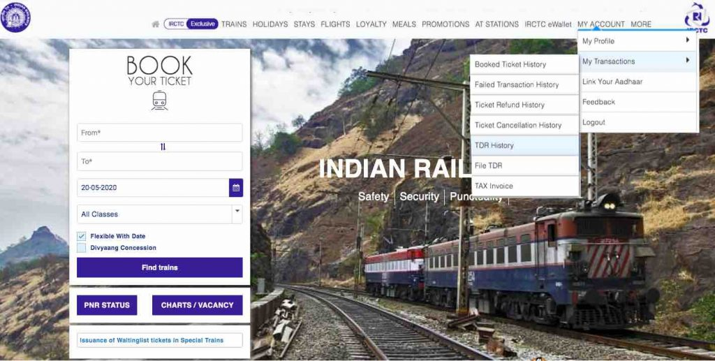 IRCTC e-Ticket : TDR Rule