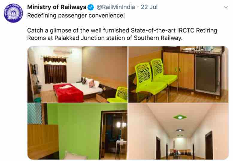 IRCTC Retiring Rooms at Palakkad Junction