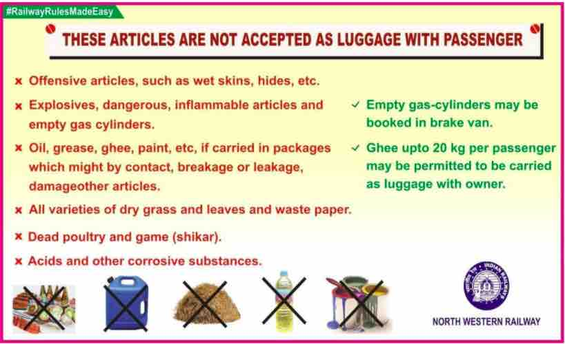 Luggage Rules in Trains by Indian Railway 2021