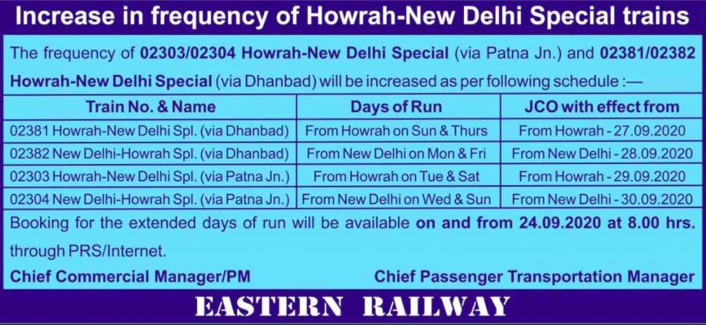 Train Time Table 2021 - Increase the frequency of Train by ER