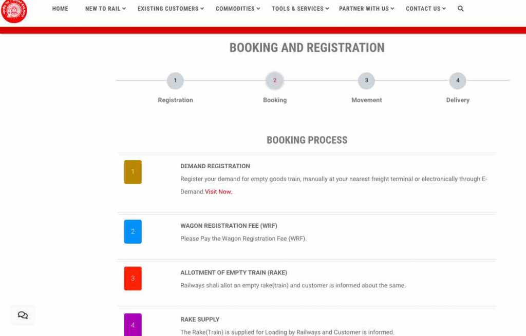 Freight Trains Booking : Online Booking Process Steps