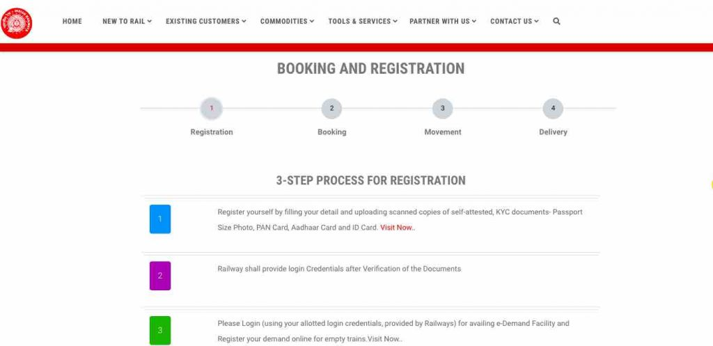 Freight Trains Booking : Online Registration Process