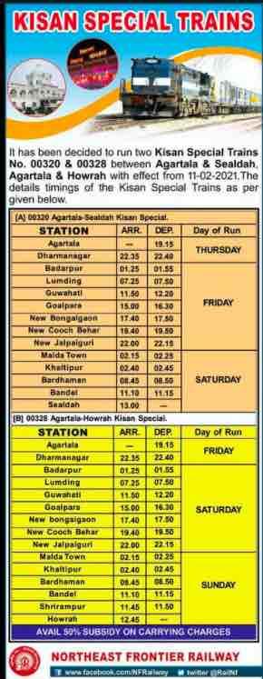 Agartala - Howrah - Sealdah: North East Frontier Railway (NFR) Kisan Rail