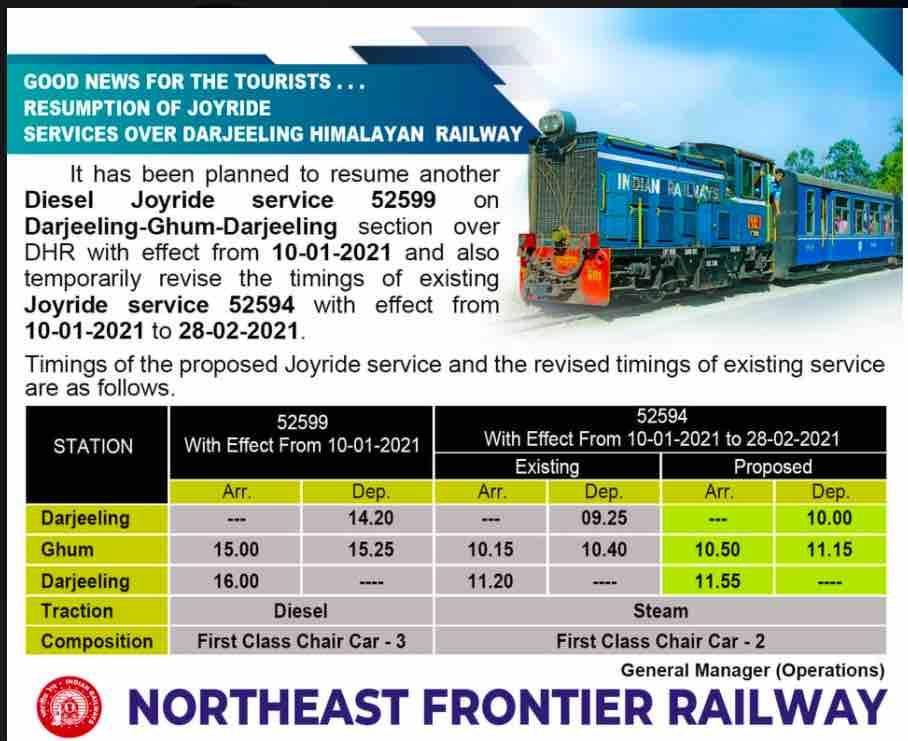 Timing of Darjeeling Himalayan Railway