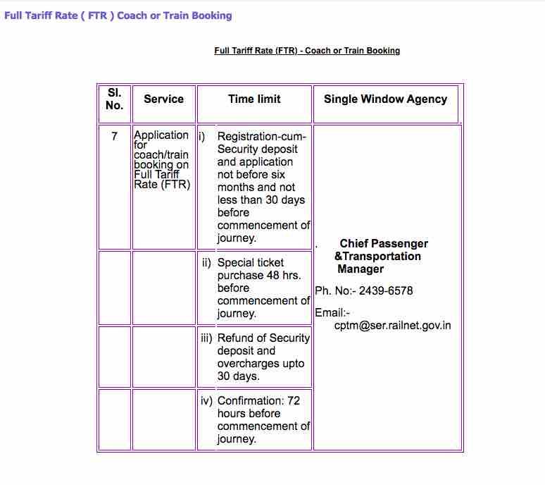 SER FTR Coach or Train Booking