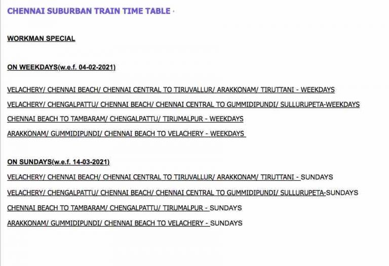 Chennai Suburban Train Time Table 2021