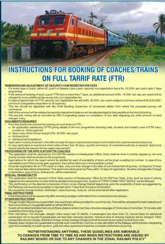 Northern Railway: Full Tariff Rate (FTR) Policy